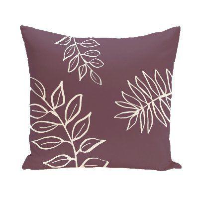 E by Design Leaf Imprint Decorative Pillow Purple / Off White Polyester - PFN190...