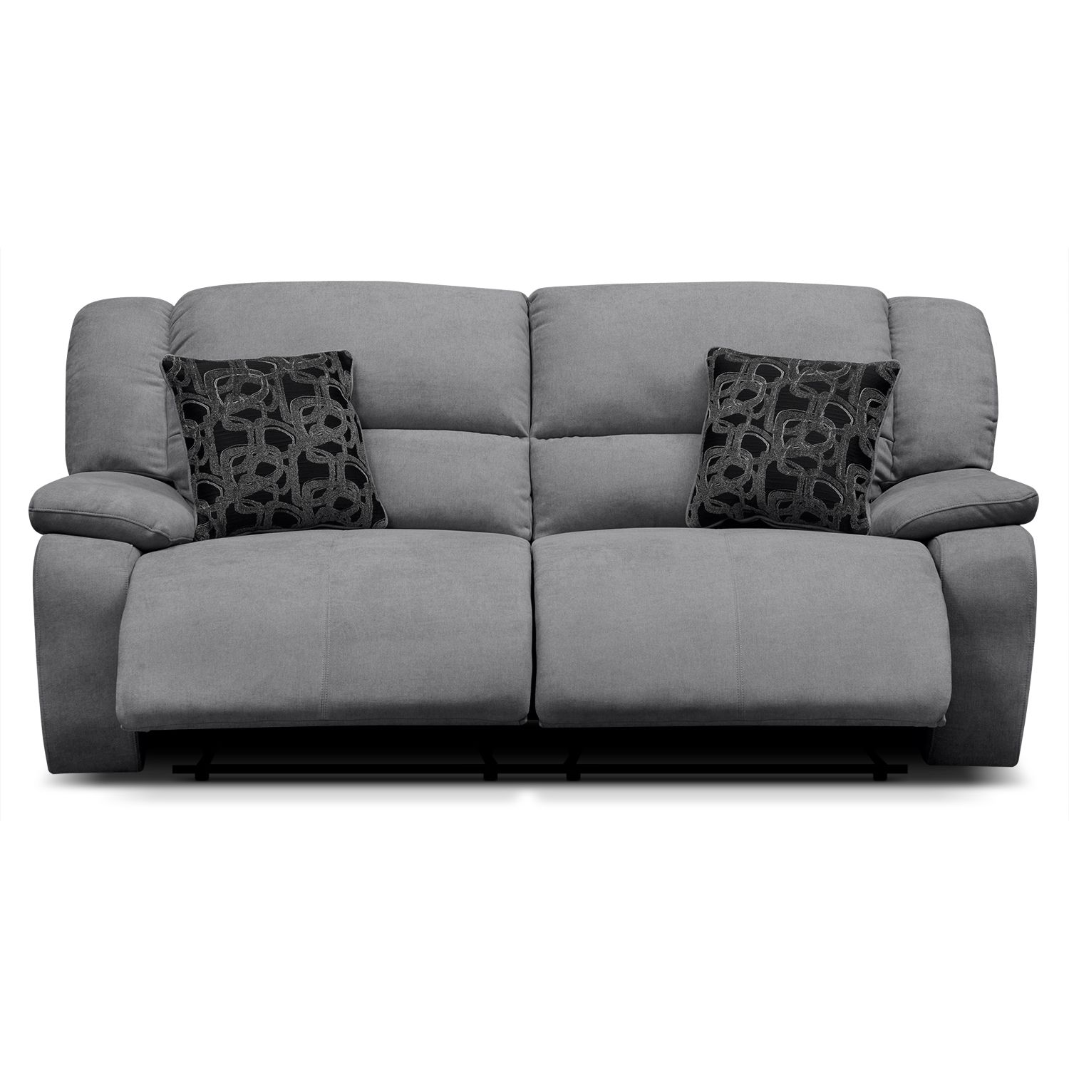 Favored Upholstery Reclining Fabric Gray Sofa For Two Seat With Cushions As Decorate Modern Living Room