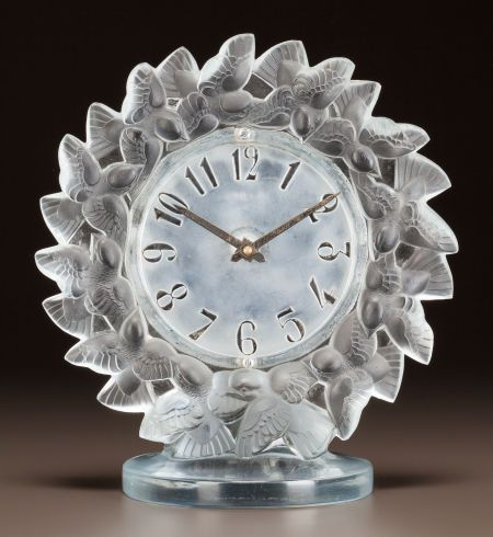 R Lalique Clear And Frosted Glass Roitelets Clock Circa 1931 Stenciled R Lalique Lalique Lalique Crystal Clock