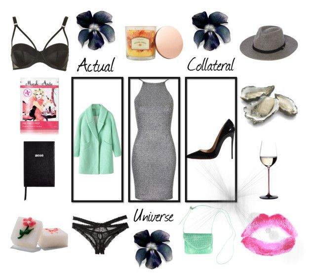 """""""Actual Universe Collateral"""" by lale-von-fass ❤ liked on Polyvore featuring Christian Louboutin, Oh My Love, Chicnova Fashion, Riedel, HOBO, Honeydew Intimates, Sonoma life + style, Sloane Stationery, MaskerAide and Topshop"""