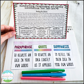 Summarizing Paraphrasing And Quoting Text In 2020 Task Card Nonfiction Are Quotation Mark Necessary On Paraphrases