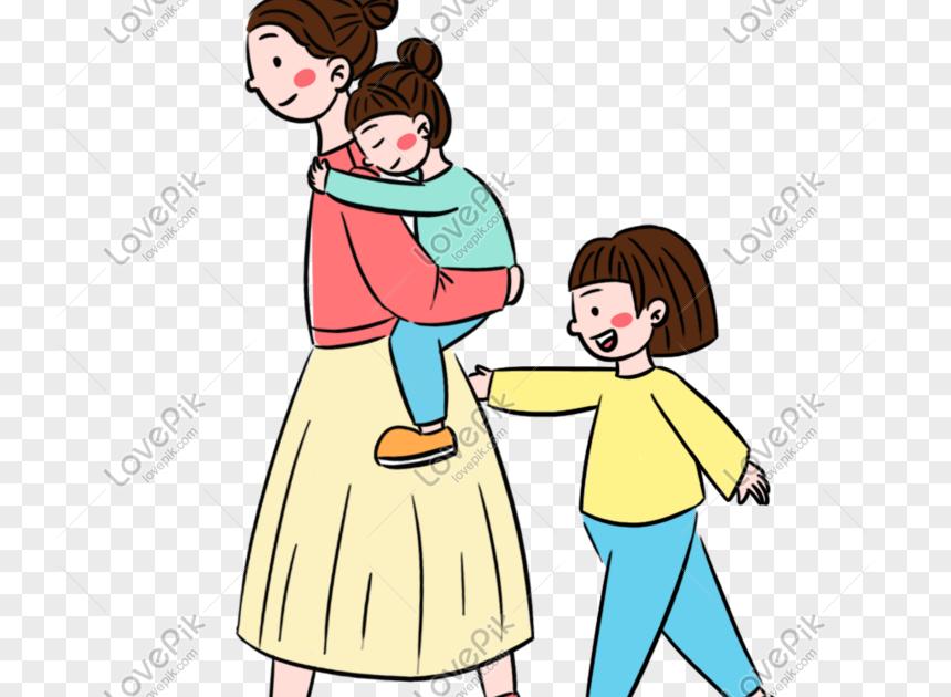 23 Gambar Kartun Ibu Dan Anak Kartun Ibu Hari Ibu Segar Dan Anak Perempuan Tiga Elemen Download Mother And Baby Family Free Imag Di 2020 Kartun Gambar Gambar Lucu