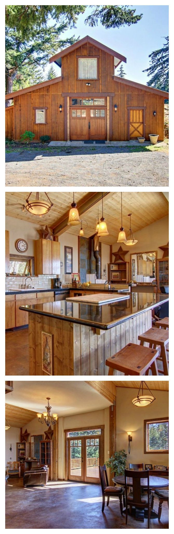 This gorgeous converted barn home has three bedrooms, and sits on 14 beautiful acres of property.