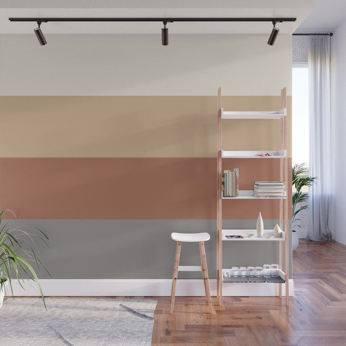 Sw Contented Accent Wall: Solid Horizontal Blocks Inspired By Cavern Clay Sw 7701