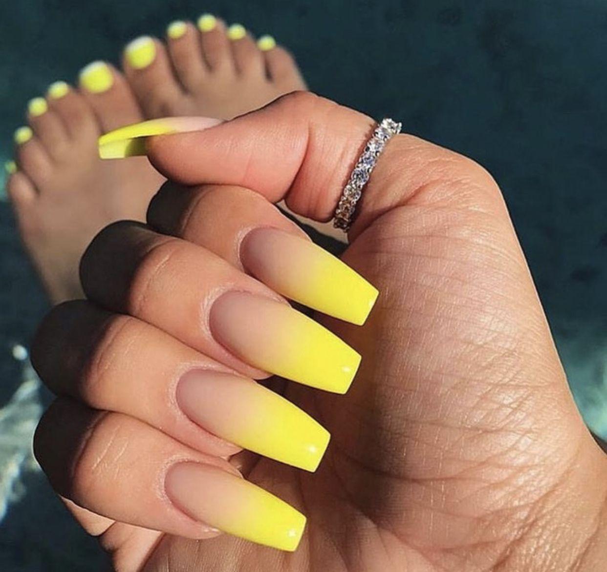 Pinterest Ashleynxoxo Nails Yellow Nails Ombre Acrylic