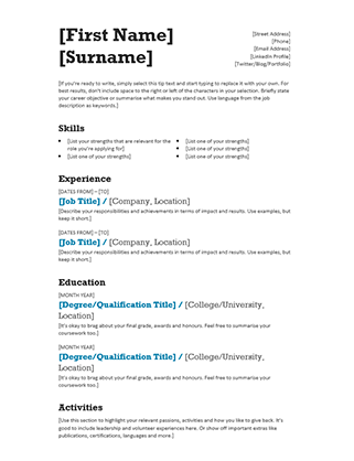 Cv Template Basic Basic Cvtemplate Template Basic Resume Format Basic Cv Template Basic Resume Examples