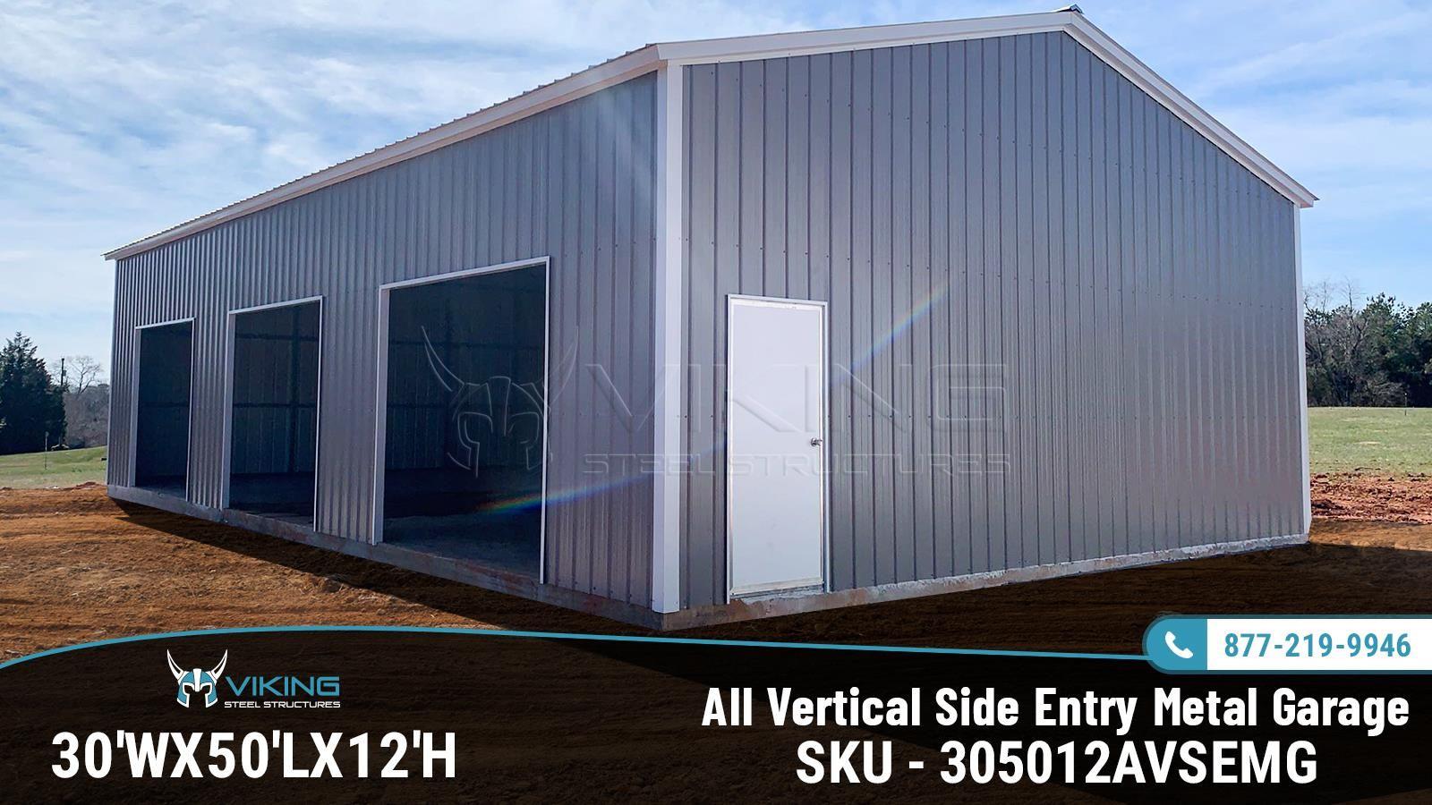 30x50x12 All Vertical Side Entry Metal Garage Metal
