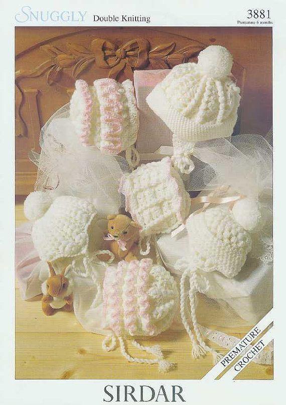 six designs baby hat bonnet vintage crochet pattern PDF instant ...