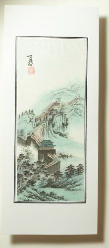 Chinese Water Color Painting Four Seasons At The Great Wall