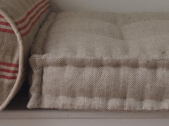 French Mattress Cushion In Natural Beige 100 Linen Window Seat Bench