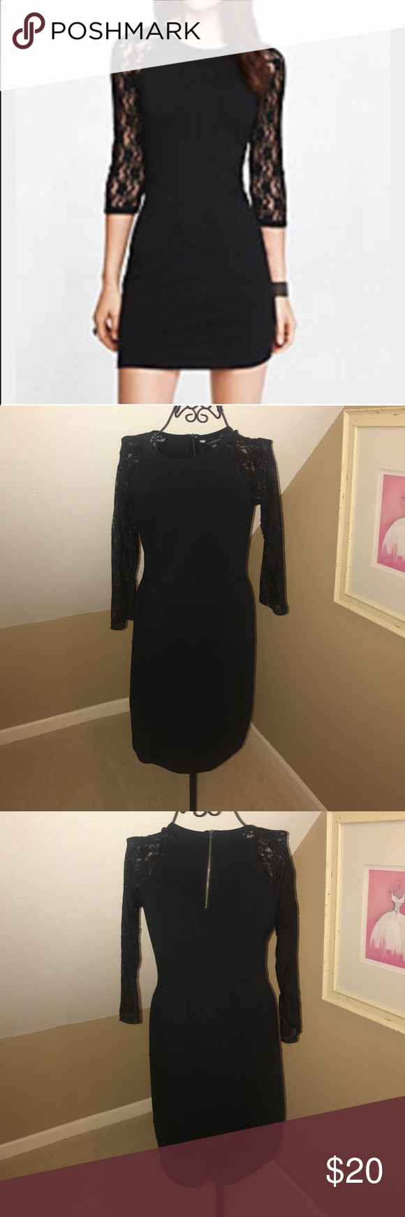 Express little black dress with lace long sleeves