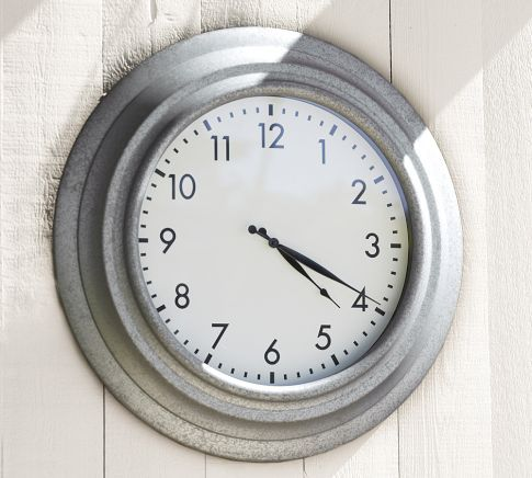 Galvanized Metal Oversized Outdoor Clock Outdoor Clock
