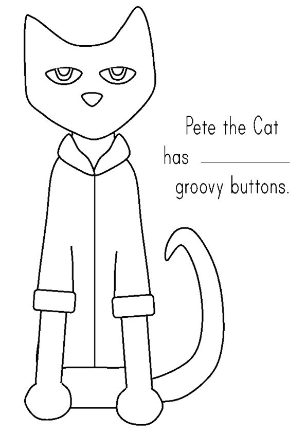 Print Coloring Image Momjunction Pete The Cat Pete The Cat Buttons Cat Template