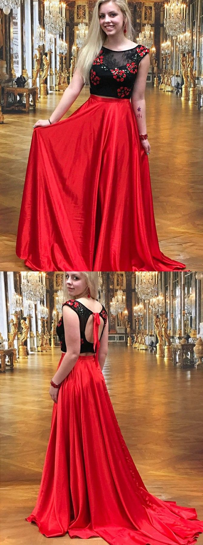 Two piece prom dresses aline red and black lace prom dress long