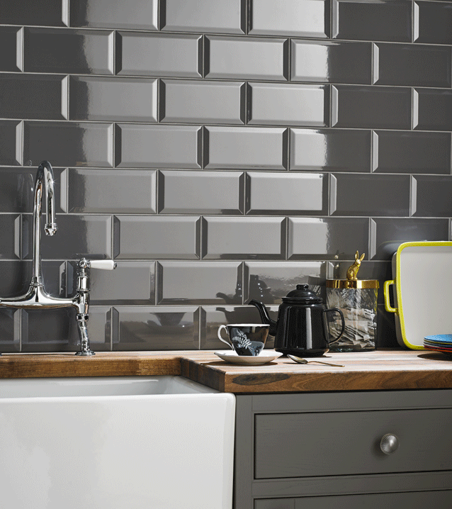 Image For Grey Kitchen Wall Tile Beveled Metro Field 100mm X 200mm