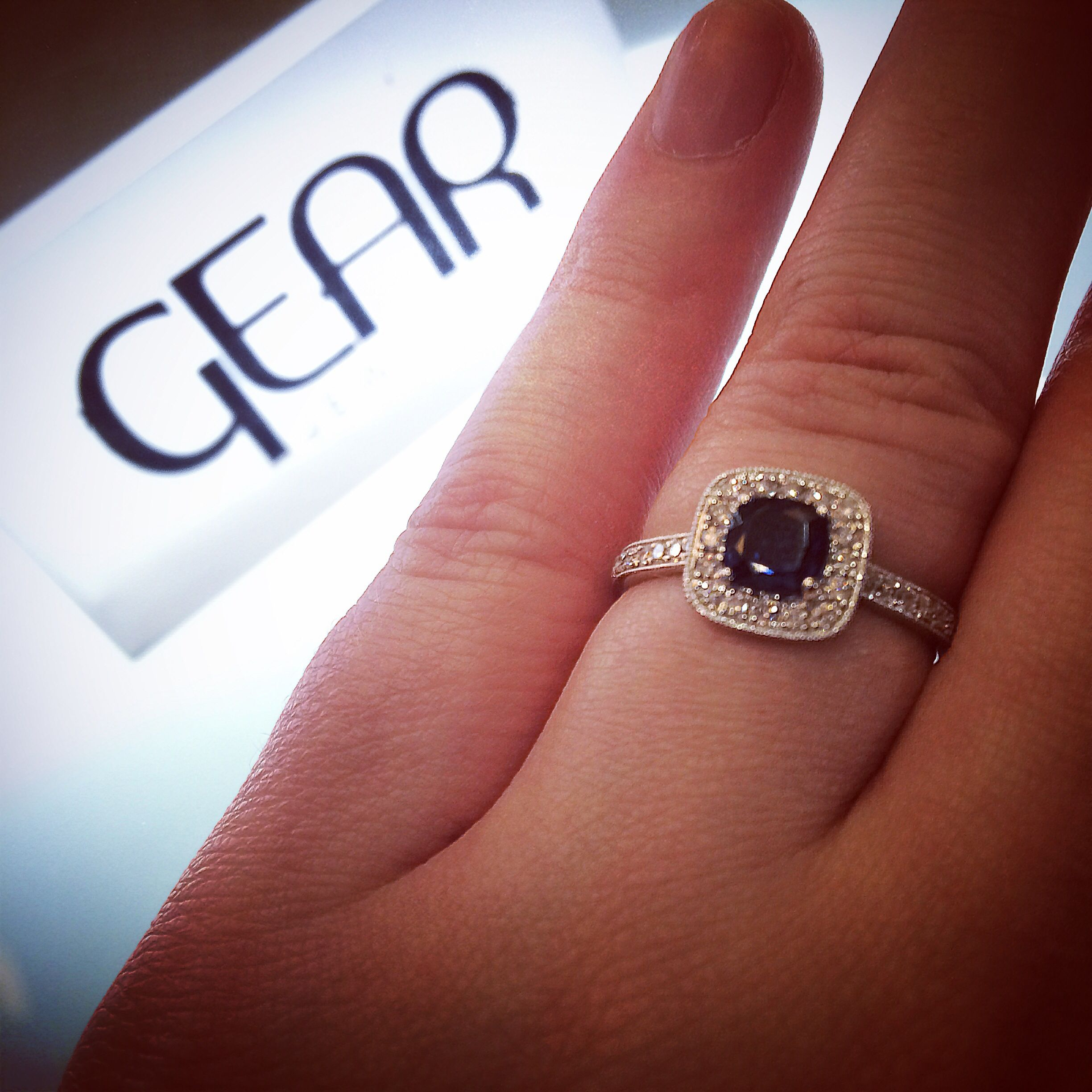 Cushion set sapphire and diamond engagement ring from Dublin ...