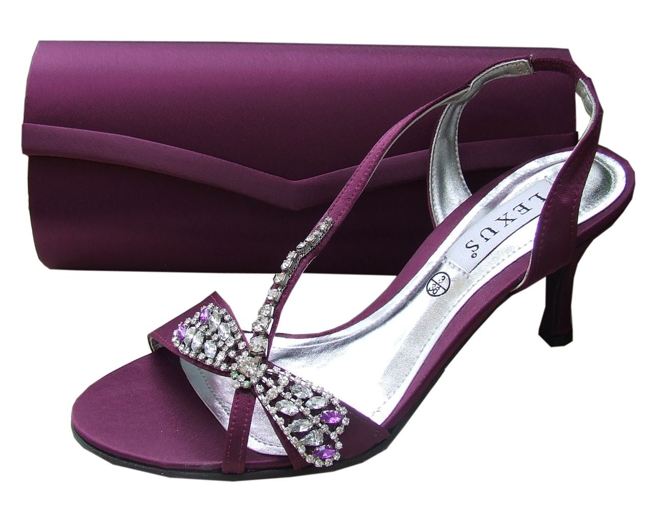 Elegant Purple Evening Sandals And Matching Bag By The Designer Lexus Affordable Shoes Online From Sole Divas