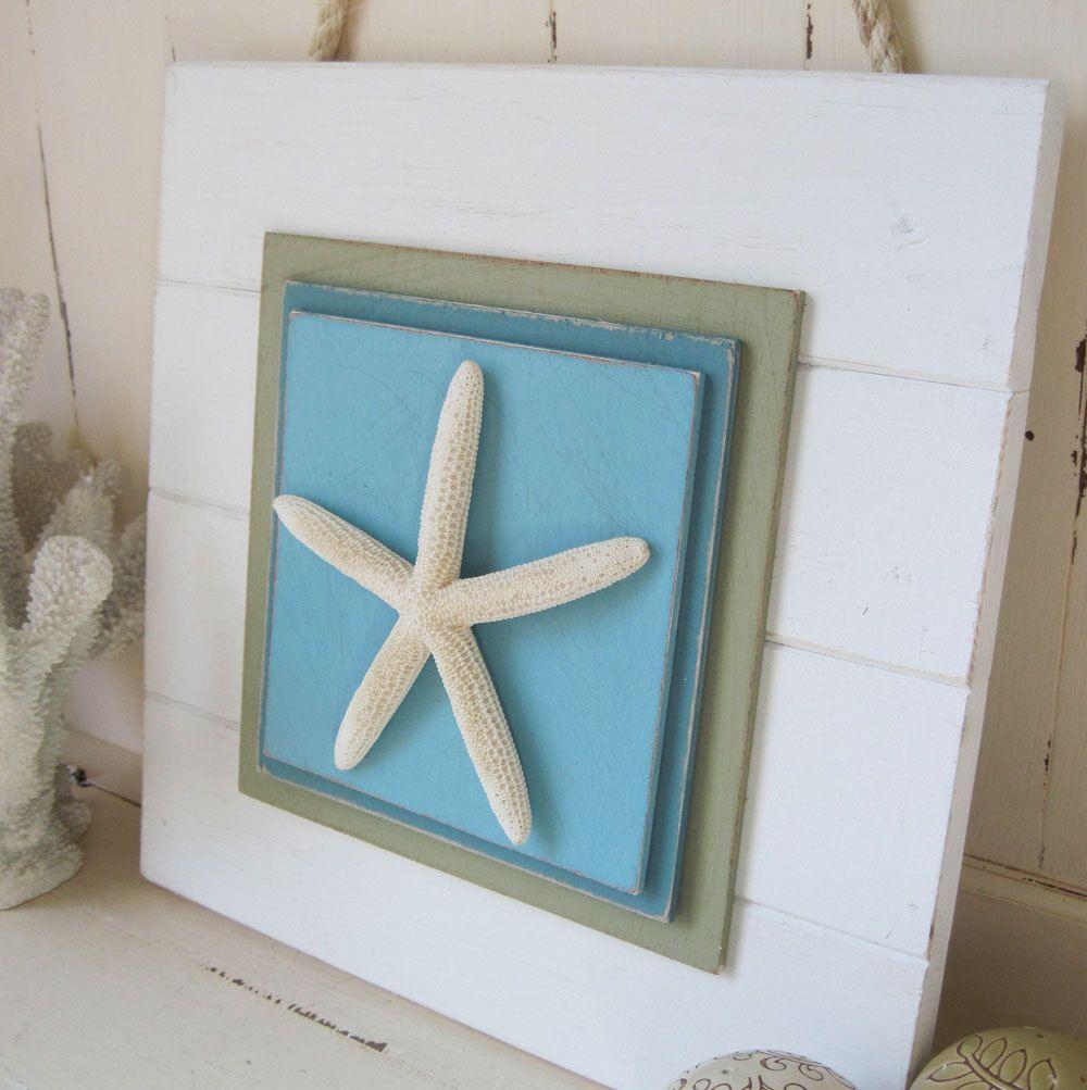 Distressed White Starfish Plank Wall Art 49 95 Via Etsy