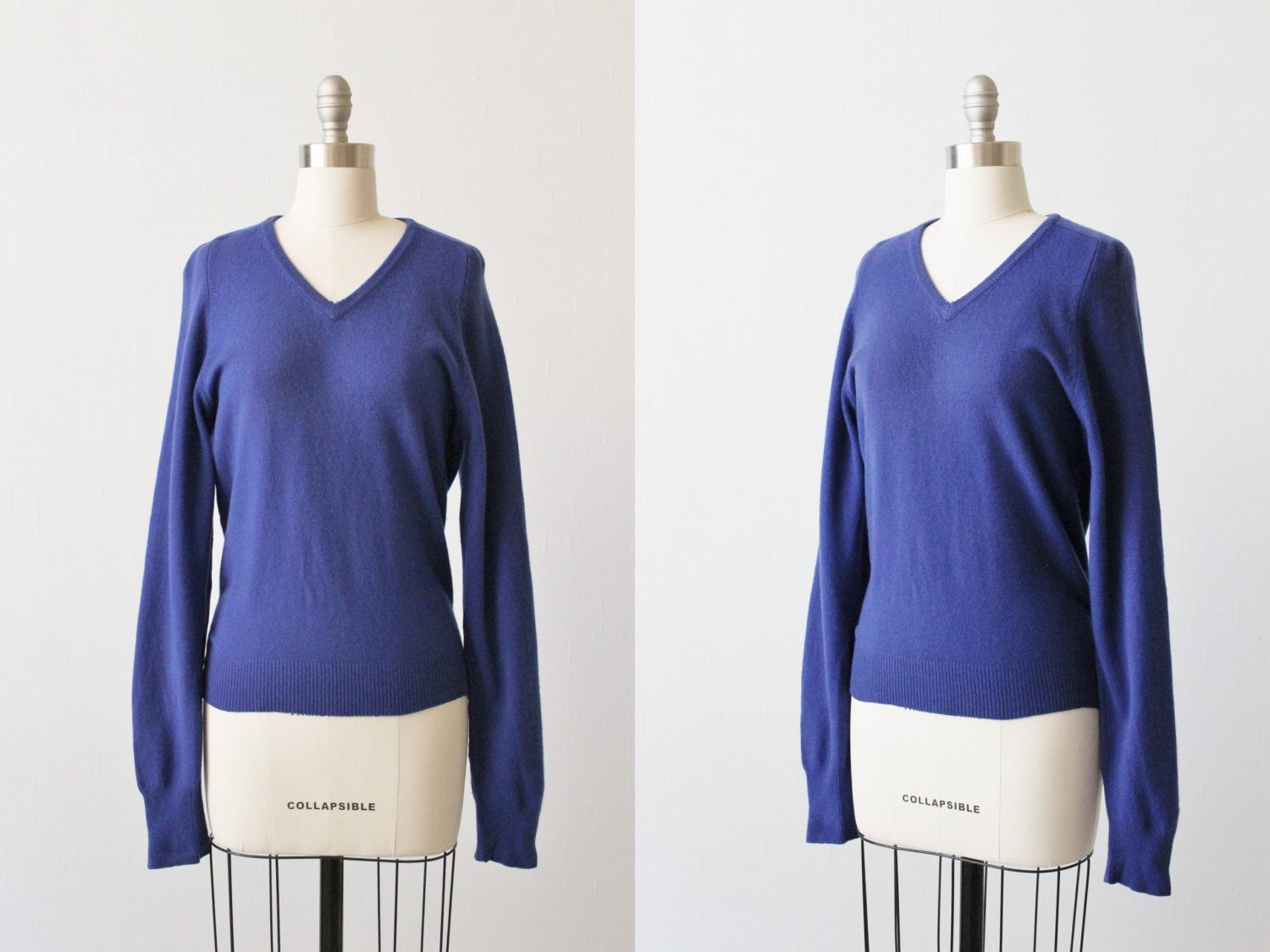 Blue Cashmere Sweater / Pull Over Cashmere by TheVintageMistress ...