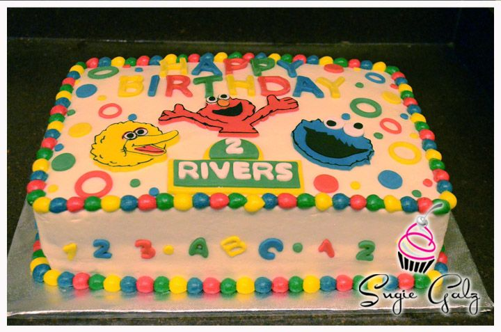 Fun Colorful Sesame Street Birthdaycake In Austin Texas By Sugie Galz