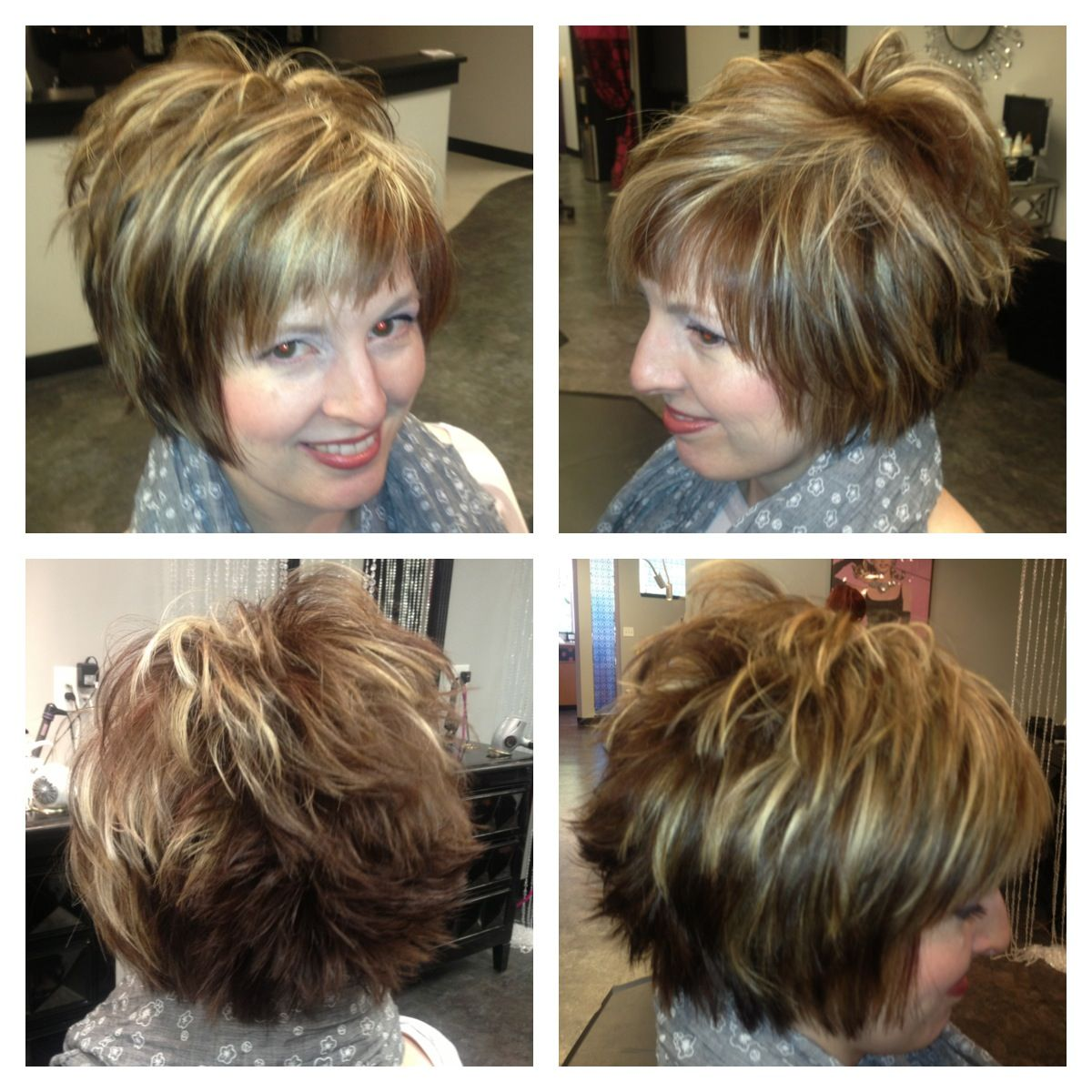 short hair cut with chunky highlights