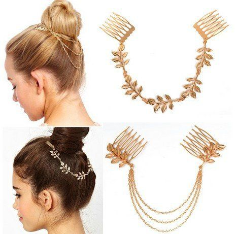 1PC Fashion Occident Metal Leaf Tassel Chains Cuff Hair Comb Women Headband Hairband Party Hair piece Free Shipping - V-Shop