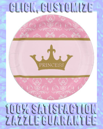 Pink And Gold Glitter Princess Party Paper Plate Pink Gold Princess Crown Party Paper Plates Party Party Pink And Gold