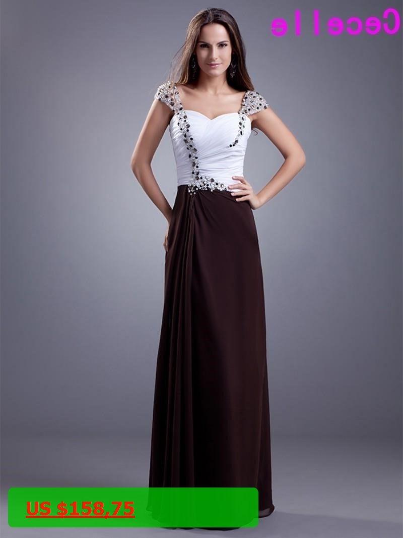 Two tone chiffon long bridesmaid dresses sweetheart pleats chiffon