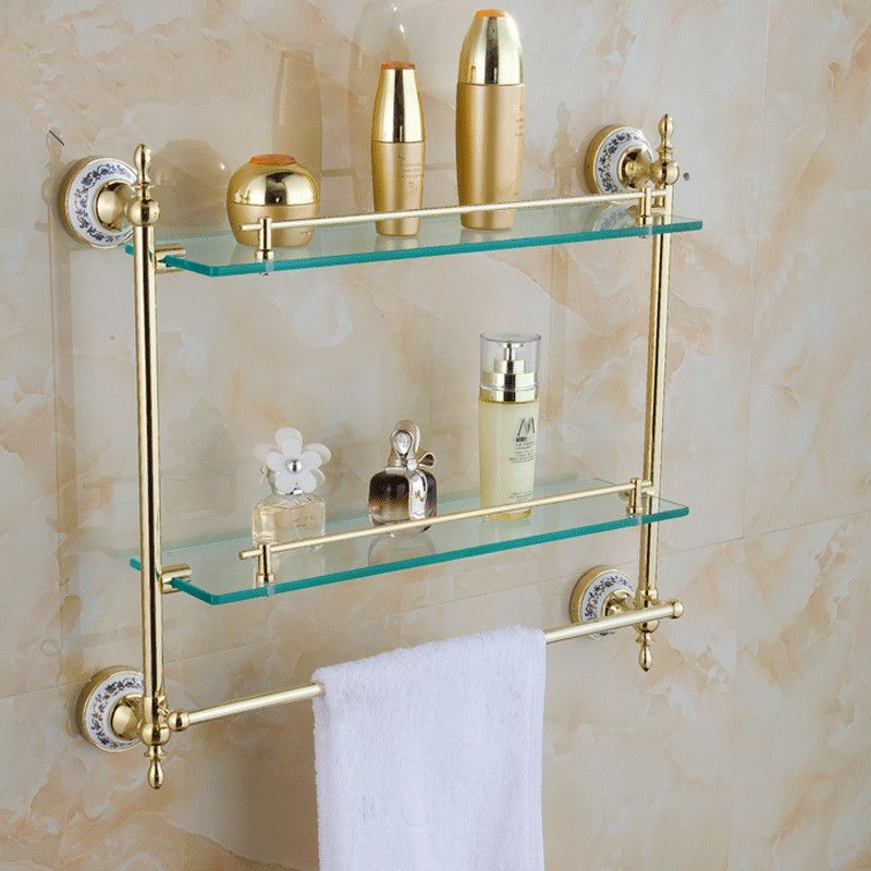 Buy Bathroom Accessories Solid Brass Golden Finish W/ Tempered