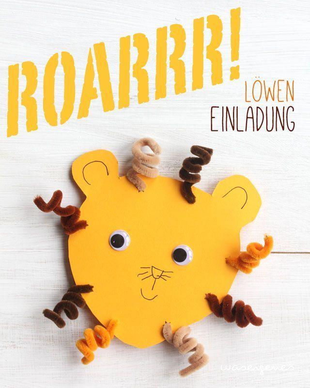 DIY Löwen Geburtstagseinladung