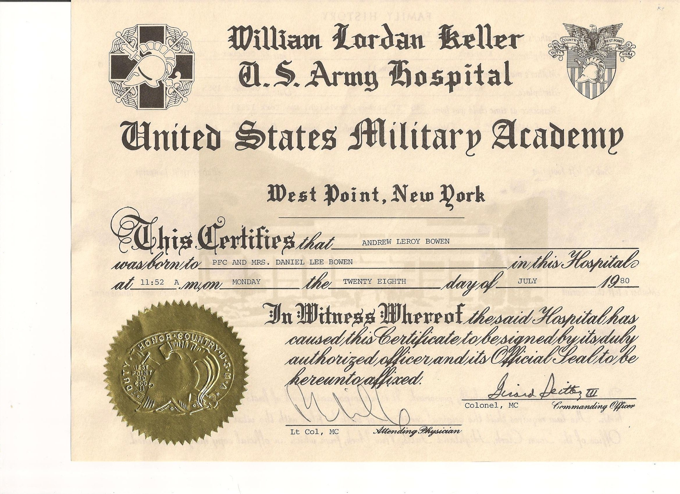 Andrews birth certificate from us military academy west point new andrews birth certificate from us military academy west point new york xflitez Gallery