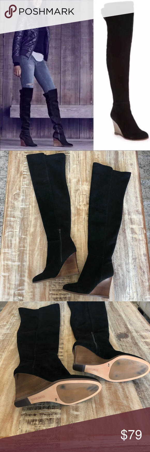 18248412adc Vince Camuto  Granta  Over Knee Wedge Black Boots These boots are the  perfect combination