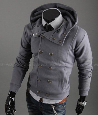 Gray Hooded Peacoat Jacket, maybe too much going on. For Daniel ...
