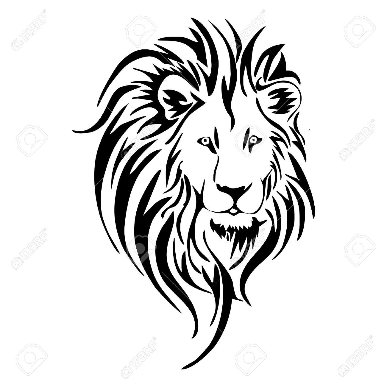 lion head tattoo royalty free cliparts vectors and stock  [ 1300 x 1300 Pixel ]