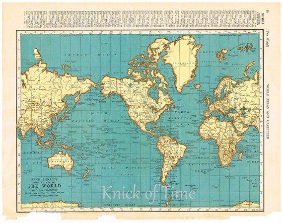 Antique World Map - 1939 World Map & Polar Regions in 2019 | Retro ...
