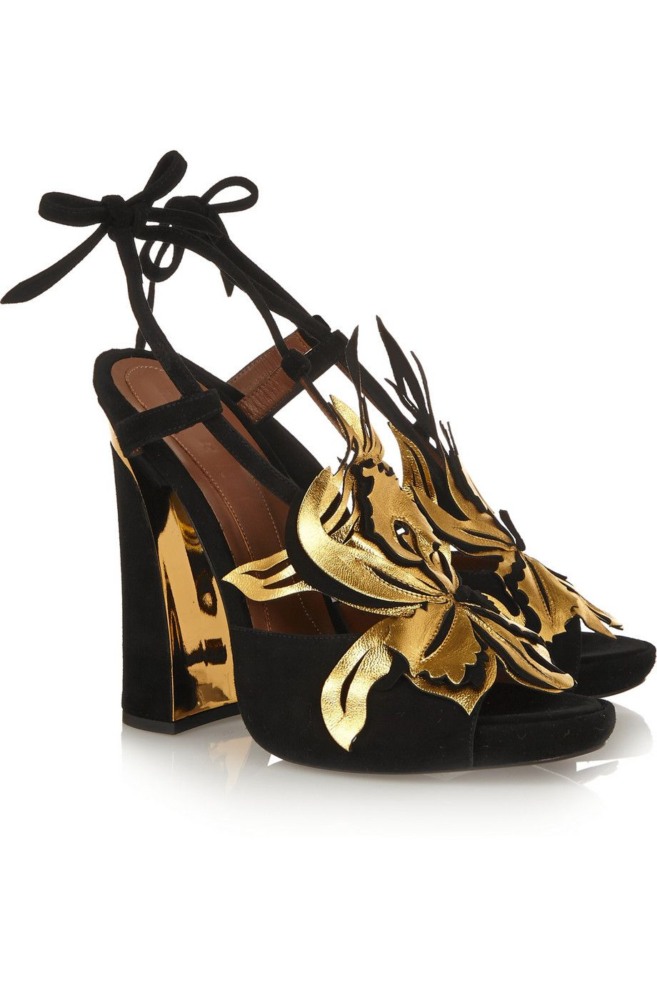 Marniopen-toe sandals with agold leatherorchid, and metallic-trimmed heel. #shoes