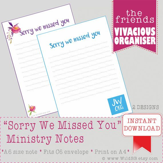 Jw A6 Ministry Sorry We Missed You Notes A6 Ministry Organiser Jw Org Jw Ministry Pioneer Service Crafts We Missed You Jw Ministry Miss You