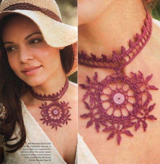 Crochet necklace ♥️LCJ-MRS♥ with digram. --- Gargantilla ...