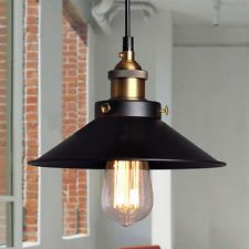 Retro Vintage Industrial Edison Lamp Pendant Light Chandelier Black Metal Shade