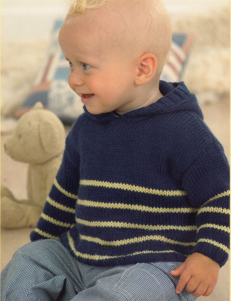 Baby Hooded Sweater Knitting Pattern and Envelope Neck - Birth to 6 ...
