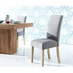 wolf m bel esszimmerstuhl padua stoff grau beine eiche. Black Bedroom Furniture Sets. Home Design Ideas