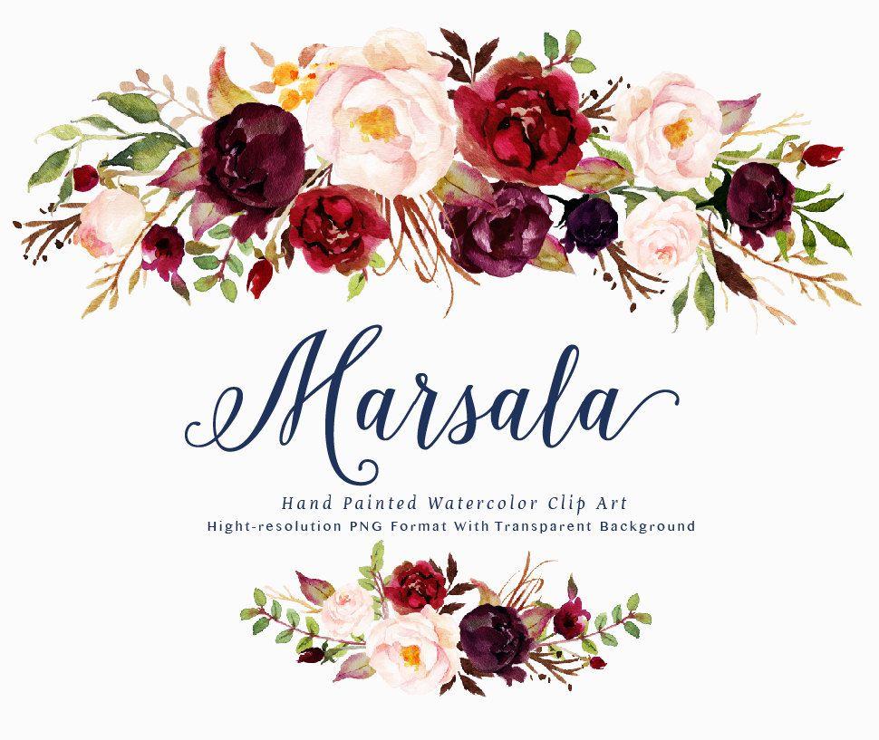 Watercolor Floral Clip Art Marsala X2f Individual Png Files X2f