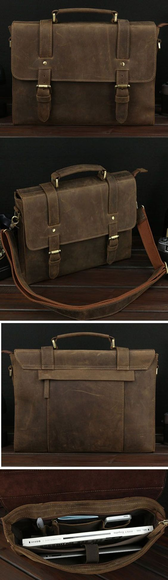 HANDMADE VINTAGE STYLE LEATHER BRIEFCASE MESSENGER BAG SATCHEL BAG CROSSBODY…