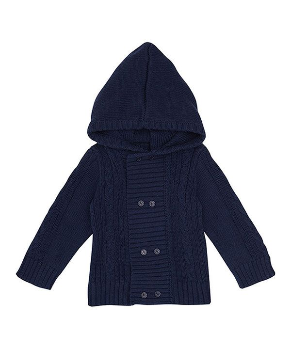 c9e361fa09e9 Look at this Navy Cable-Knit Hooded Cardigan - Infant