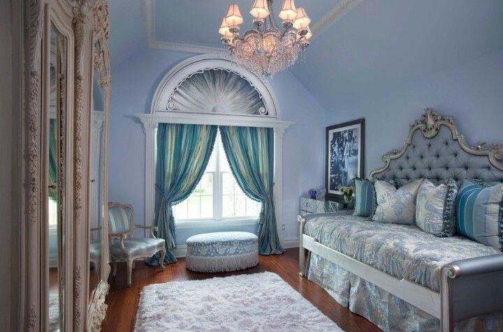 Elegant light blue bedroom