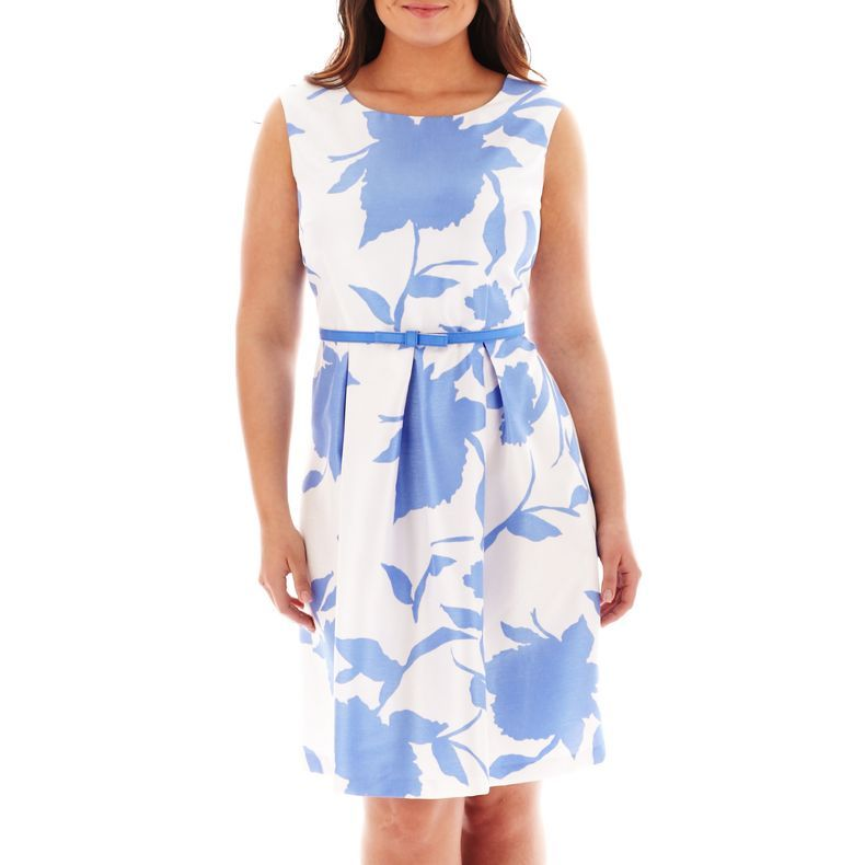 d7a5fa205f7 jcpenney - Danny   Nicole® Cap-Sleeve Belted Fit-and-Flare Dress - Plus -  jcpenney