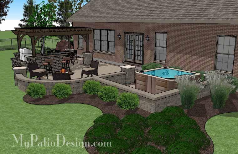 creative brick patio design with pergola, hot tub, seat walls and ... - Hot Tub Patio Designs