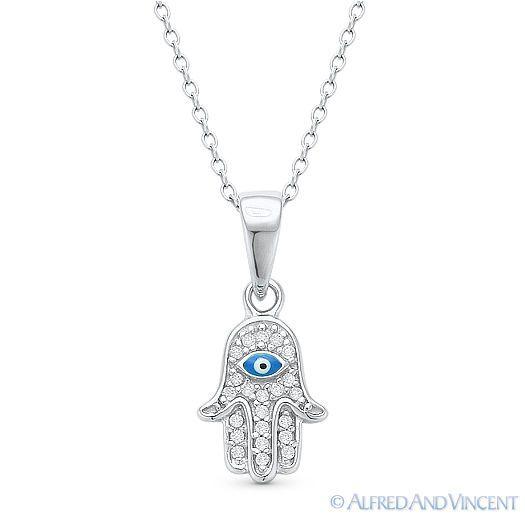 Hamsa Evil Eye Filigree Sterling Silver Pendant  Necklace Kabbalah Fatima Hand