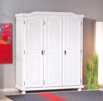 Kleiderschrank Fjodde, 3-türig, Kiefer massiv, weiß - schlafzimmerschrank weiß hochglanz