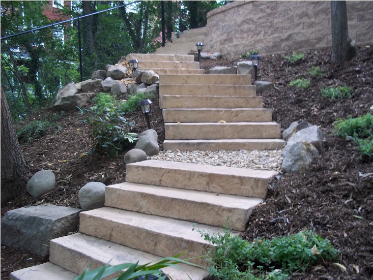 landscaping steps steep slope